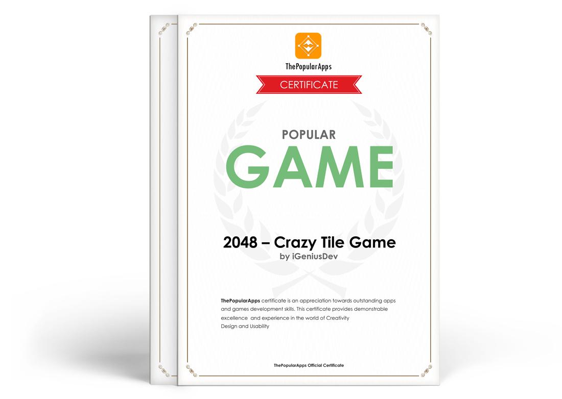 Popular Game Certificate