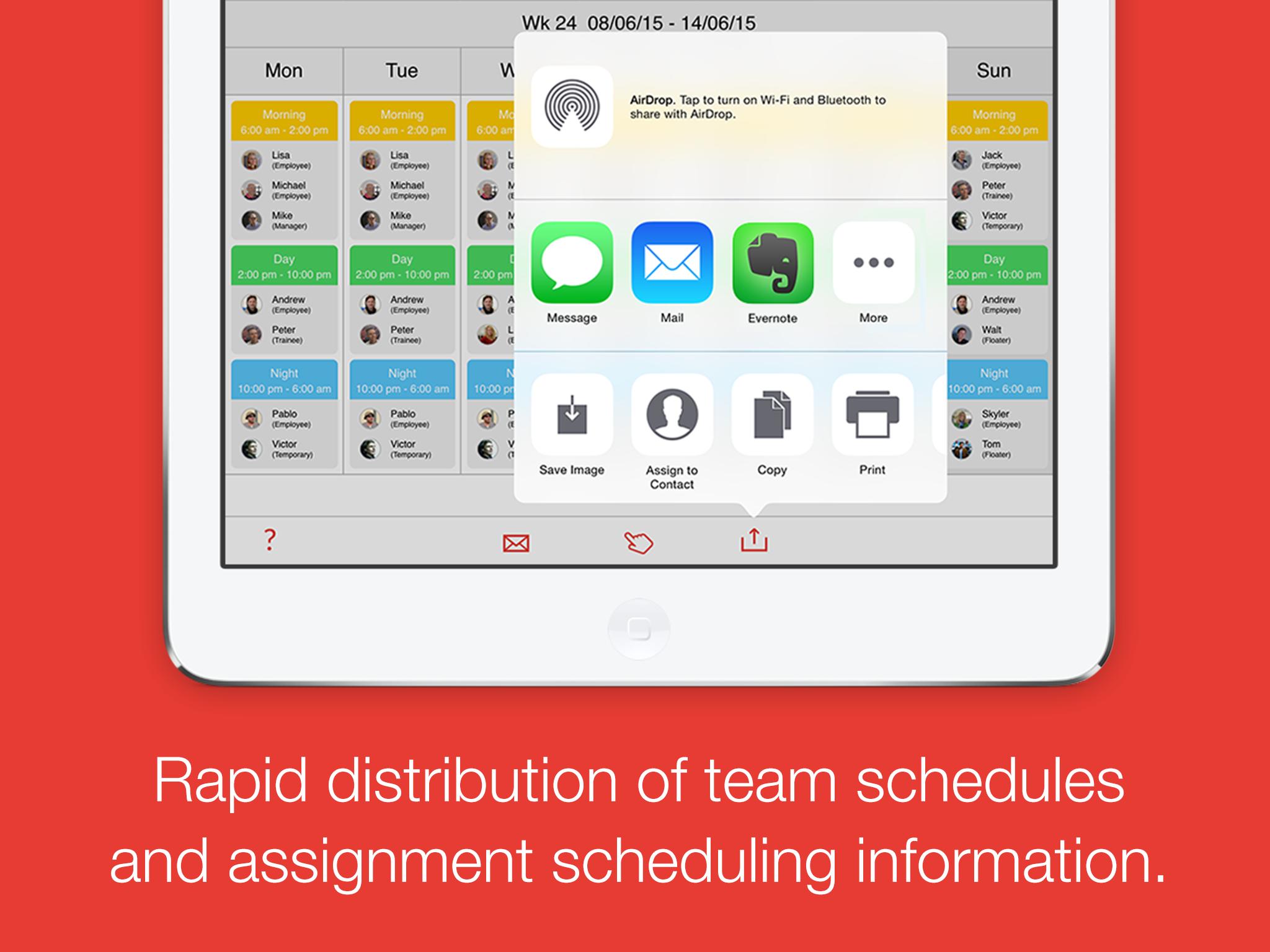 Dienstag – schedule your team