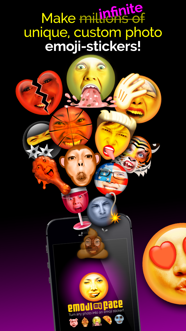Emoji My Face: morph faces into emojis & create your own custom character avatar!
