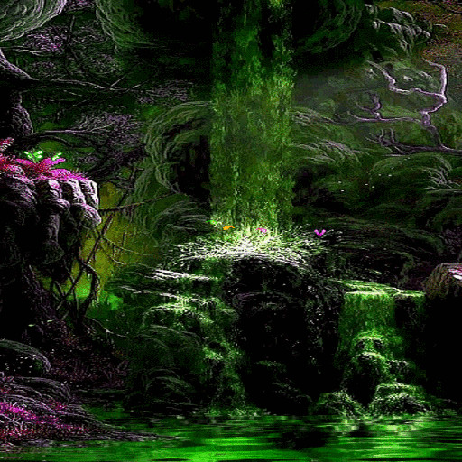 Fantasy Green Waterfall LWP