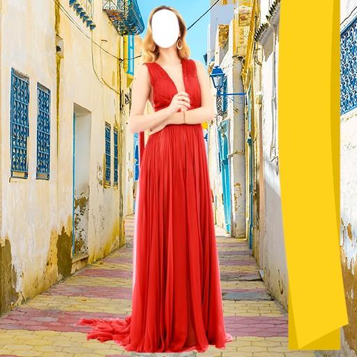 Woman Long Dress Photo Camera